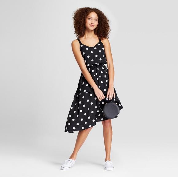 a new day Dresses & Skirts - Polka Dot Sleeveless Ruffle Skirt Dress - Black